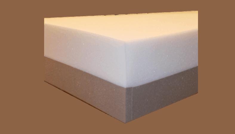 Her ses en madras kombineret af hvid skum og hård underside